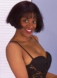 Rachel feels sexy as she removes her black lingerie and plays with her black nipples until they become erect. Watch her lay back and finger her moist